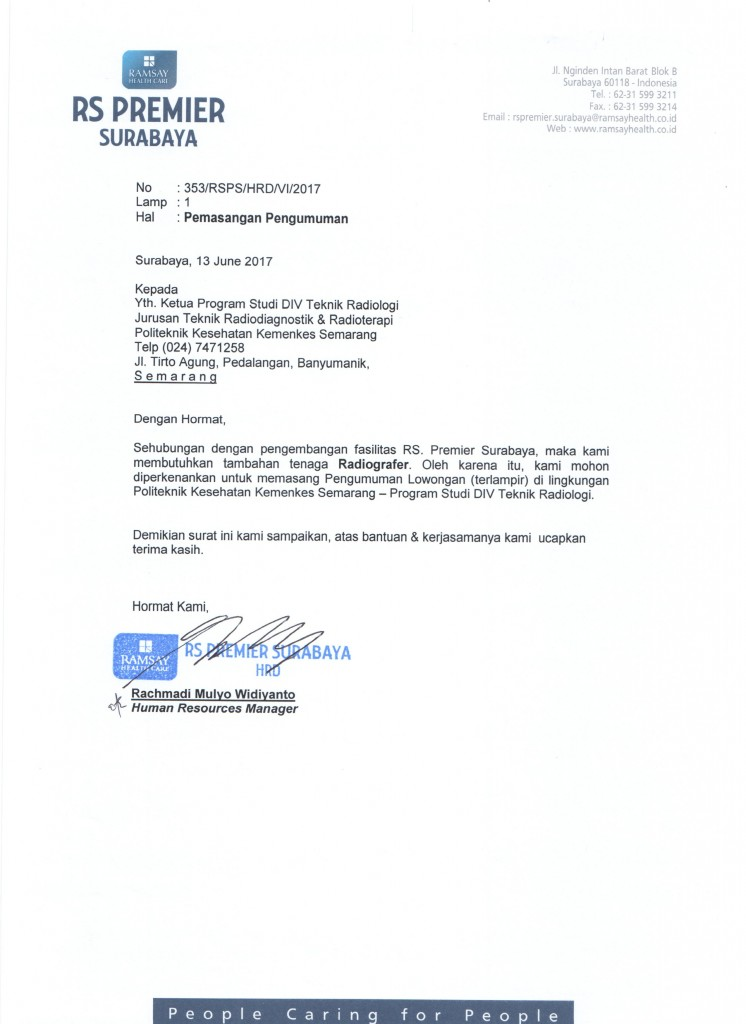 Surat Lowongan Kerja Poltekkes Semarang